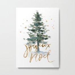 Christmas Tree Watercolors Noel Gold Typography Metal Print