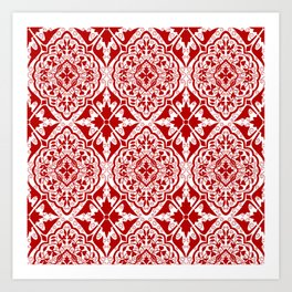 BOHEMIAN PALACE, ORNATE DAMASK: RED and WHITE Art Print
