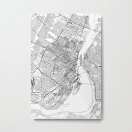 Montreal White Map Metal Print