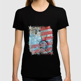 Lady Liberty Stars and Stripes Patriotic Artwork T-shirt