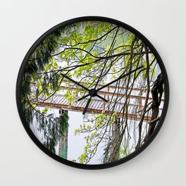 RAINY SPRING DAY AT THE DOCK IN THE WOODS Wall Clock