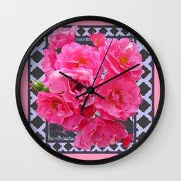 DECORATIVE PINK ROSES GREY LATTICE ART Wall Clock