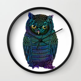 Neon Owl Wall Clock