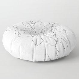 Minimalistic Eucalyptus  Line Art Floor Pillow