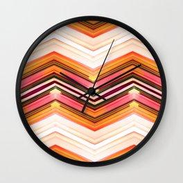 Geometric Wave - Red Orange Futuristic Geometric Abstract Wall Clock