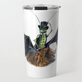 """ Rider in the Night "" happy cricket rides his pet bat Travel Mug"