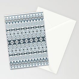 Aztec Stylized Pattern Gray-Blues & White Stationery Cards