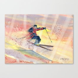 Colorful Skiing Art Canvas Print