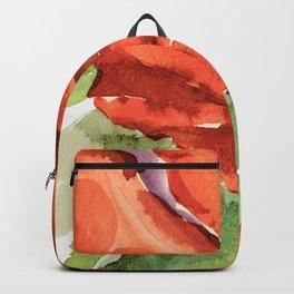 Red Rose In Bloom, Watercolour Sketch Backpack
