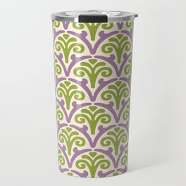 Floral Scallop Pattern Lavender and Chartreuse Travel Mug