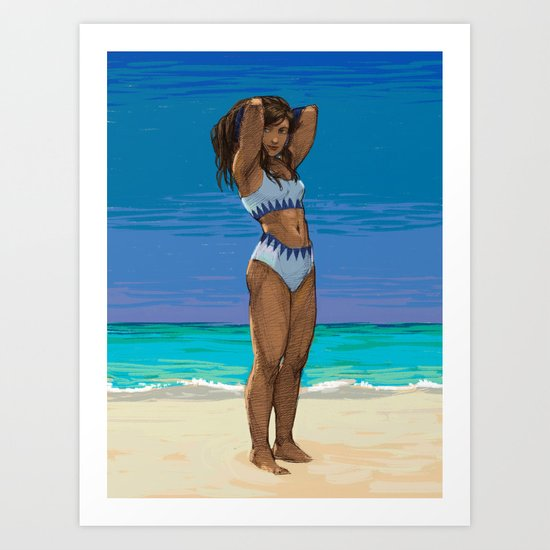 Korra at the Beach Art Print