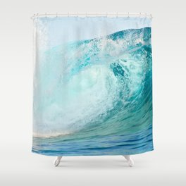 Pacific big surfing wave breaking Shower Curtain
