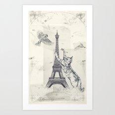 cat attack Art Print