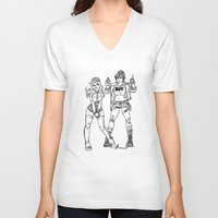 kendrawcandraw V-neck T-shirts featuring Girl Gang by kendrawcandraw