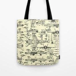 F-18 Blueprints // Parchment Tote Bag