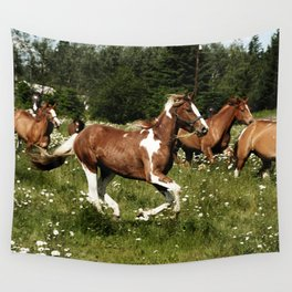 Spring Horse Run Wall Tapestry