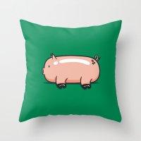pig Throw Pillows featuring Pig by Krisren28