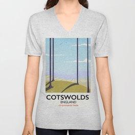 Cotswolds landscape travel poster Unisex V-Neck