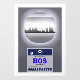 Logan - BOS - Airport Code & Skyline Art Print