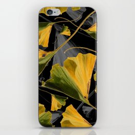 Yellow Ginkgo Leaves on Black iPhone Skin