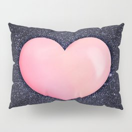 Pink heart on shiny black Pillow Sham