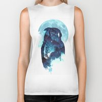 owls Biker Tanks featuring Midnight Owl by Robert Farkas
