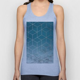 Gold Geometric Cubes Teal Marble Deco Design Unisex Tank Top