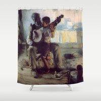 banjo Shower Curtains featuring The Banjo Lesson by Henry Ossawa Tanner by Elegant Chaos Gallery