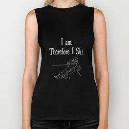 I Am Therefore I Ski Winter Sports Skiing T-Shirt Biker Tank