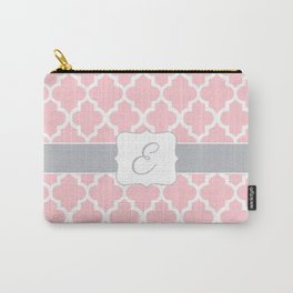 "Baby Pink Geometric Pattern with Silver ""E"" Monogram Carry-All Pouch"