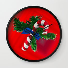Christmas Candy Cane Wall Clock