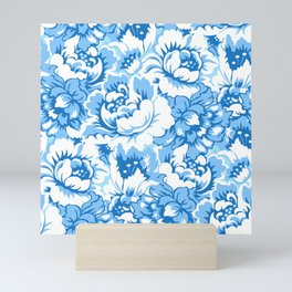 Blue floral Mini Art Print