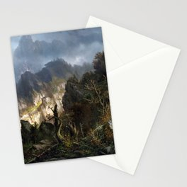 Hermann Herzog Storm in the Mountains Stationery Cards