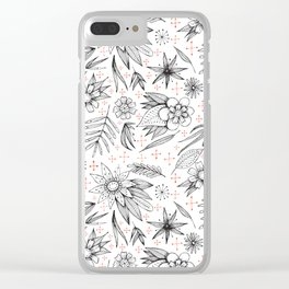 black and white floral Clear iPhone Case