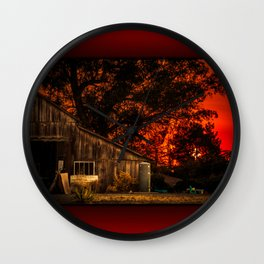 Red sunset in rural California Wall Clock