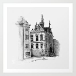 Old building on the Amstel Amsterdam Art Print