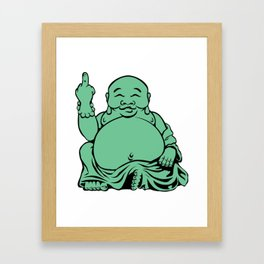 Jolly Fat Jade Buddha Flipping The Bird Framed Art Print