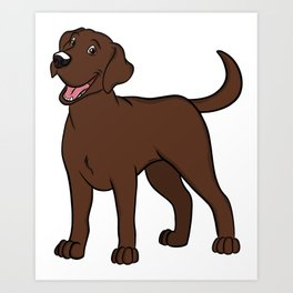 Happy Chocolate Lab Art Print