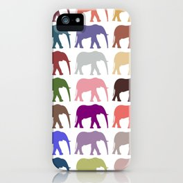 Colorful Elephants - Pink Purple Green Blue iPhone Case