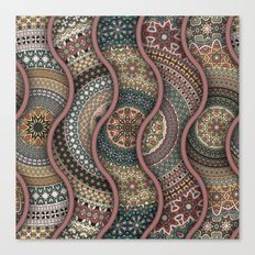 Colorful abstract ethnic floral mandala pattern design Canvas Print