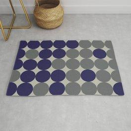 Dots bricks in deep blue and gray Rug