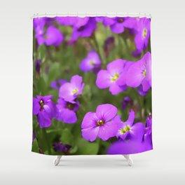 Pink Purple Impatiens Flowers Shower Curtain