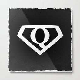 White Letter Q Symbol Metal Print