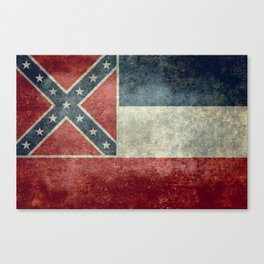Mississippi State Flag in Distressed Grunge Canvas Print