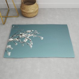 White Snow and Ice on Robin's Egg Blue Rug