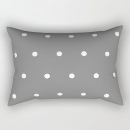 Grey With White Polka Dots Pattern Rectangular Pillow