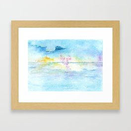 Blue Sky Watercolor Illustration Framed Art Print