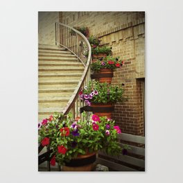 Stairway with Flowers Canvas Print
