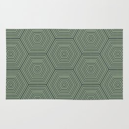 Army Green Hexagon Pattern Rug