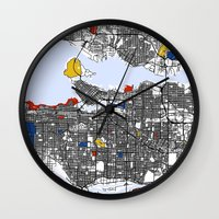 vancouver Wall Clocks featuring Vancouver by Mondrian Maps